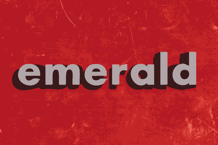 emerald: emerald vector word on red concrete wall Illustration