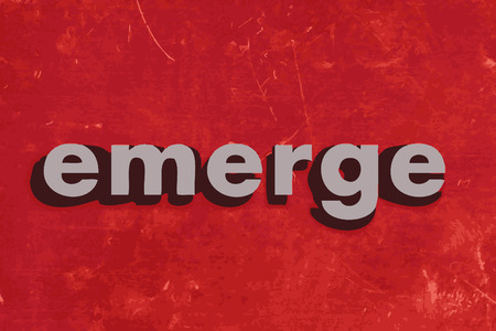 emerge: emerge vector word on red concrete wall Illustration