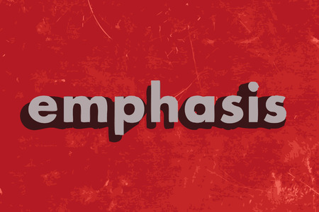 emphasis: emphasis vector word on red concrete wall