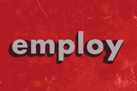 employ: employ vector word on red concrete wall