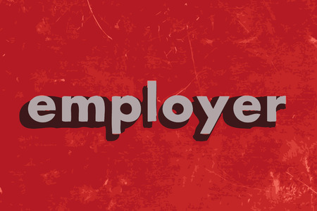 employer: employer vector word on red concrete wall Illustration