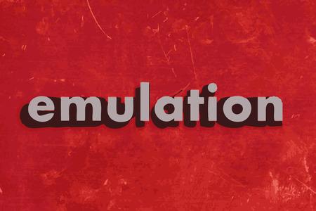 emulation: emulation vector word on red concrete wall Illustration