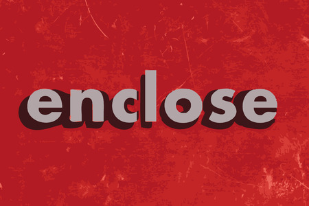 enclose: enclose vector word on red concrete wall Illustration