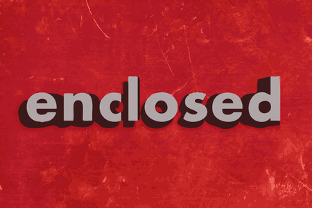 enclosed: enclosed vector word on red concrete wall Illustration