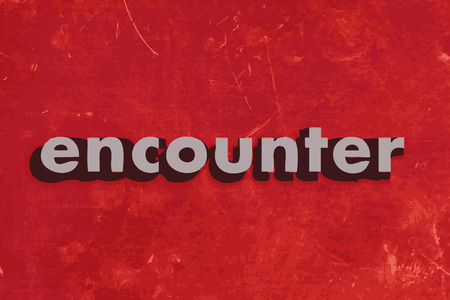 encounter: encounter vector word on red concrete wall Illustration