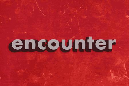 encounter: incontrare parola vettore sul muro di cemento rosso