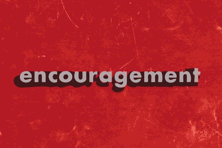 encouragement vector word on red concrete wall Illustration