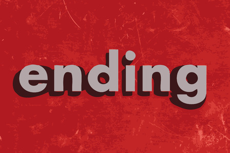 ending: ending vector word on red concrete wall