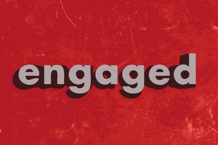 engaged: engaged vector word on red concrete wall