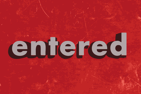 entered: entered vector word on red concrete wall