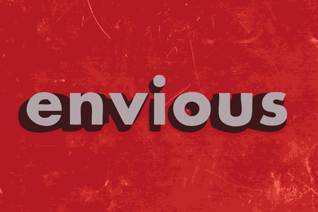 envious: envious vector word on red concrete wall Illustration