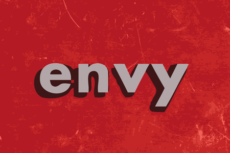 envy: envy vector word on red concrete wall Illustration