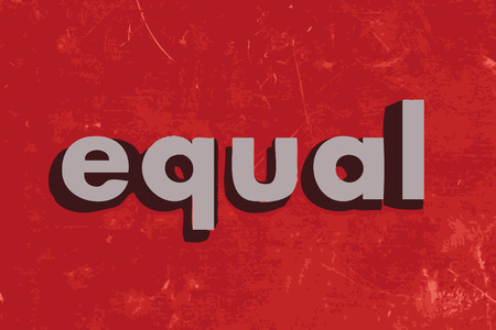 equal to: equal vector word on red concrete wall