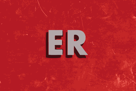 er: ER vector word on red concrete wall Illustration