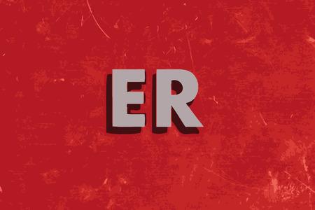 er: ER vector word on red concrete wall Illustration