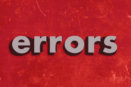 errors: errors vector word on red concrete wall