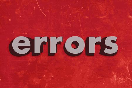 fouten: fouten vector woord over de rode betonnen muur