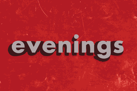 evenings: evenings vector word on red concrete wall