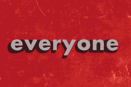 everyone: everyone vector word on red concrete wall