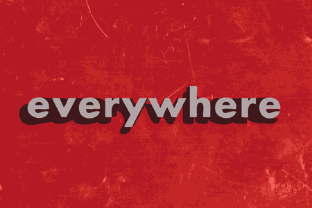 everywhere: everywhere vector word on red concrete wall Illustration