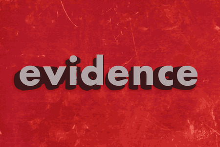 evidences: evidence vector word on red concrete wall Illustration