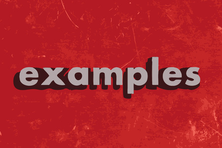 examples: examples vector word on red concrete wall