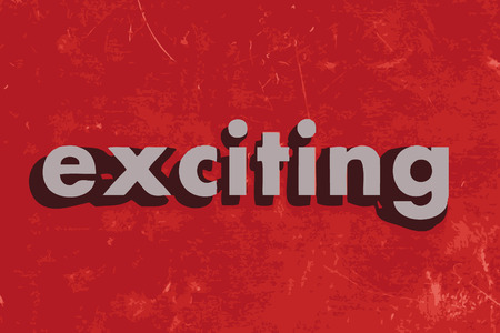 exciting: exciting vector word on red concrete wall Illustration