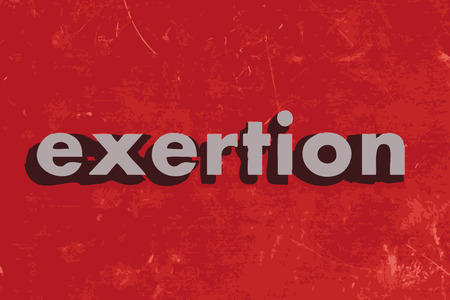 exertion: exertion vector word on red concrete wall