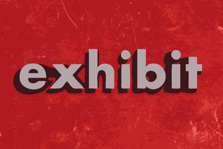 exhibit: exhibit vector word on red concrete wall