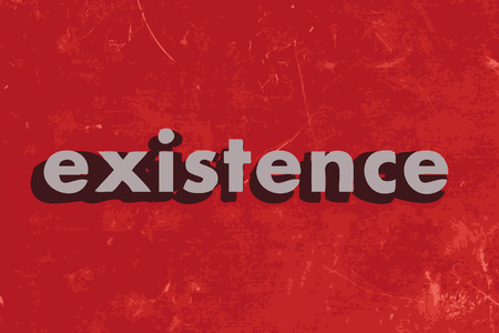 existence: existence vector word on red concrete wall
