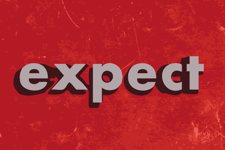to expect: expect vector word on red concrete wall Illustration
