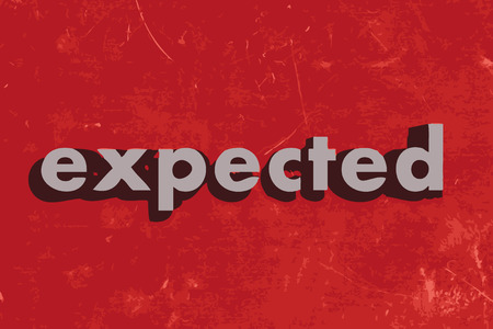 expected: expected vector word on red concrete wall