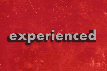 experienced: experienced vector word on red concrete wall