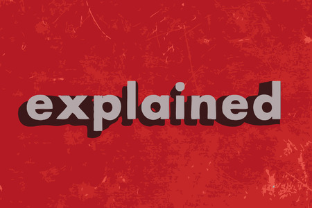 explained: explained vector word on red concrete wall Illustration