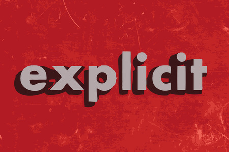 esplicito: esplicito parola vettoriale su muro di cemento rosso Vettoriali