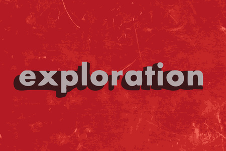 exploration: exploration vector word on red concrete wall Illustration