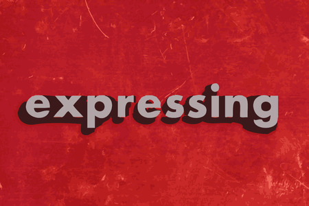expressing: expressing vector word on red concrete wall