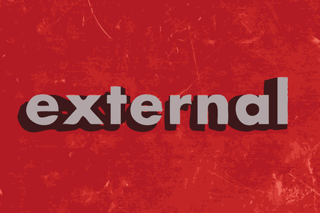 external: external vector word on red concrete wall Illustration