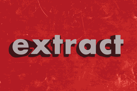 extract: extract vector word on red concrete wall