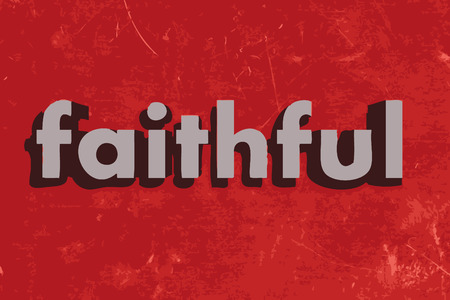 faithful vector word on red concrete wall Illustration