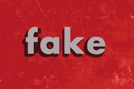 fake: fake vector word on red concrete wall Illustration