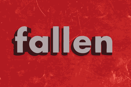 fallen: fallen vector word on red concrete wall Illustration