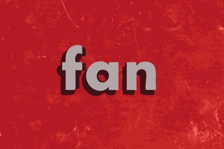 red fan: fan vector word on red concrete wall Illustration