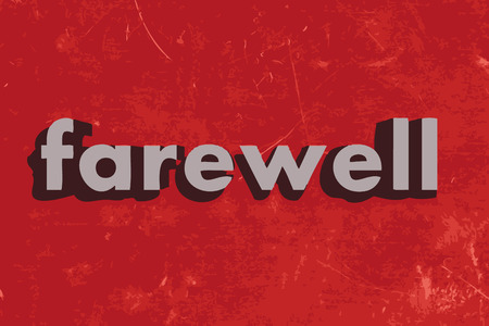 farewell: farewell vector word on red concrete wall