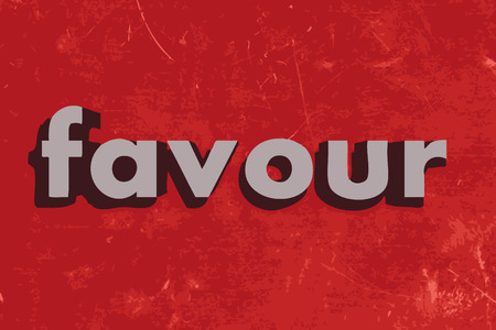 favour: favour vector word on red concrete wall