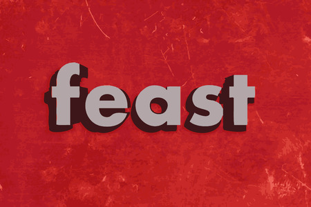 feast: feast vector word on red concrete wall