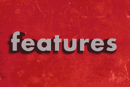 feature wall: features vector word on red concrete wall