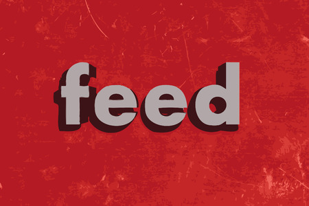 feeds: feed vector word on red concrete wall