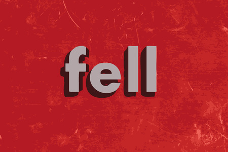 fell: fell vector word on red concrete wall