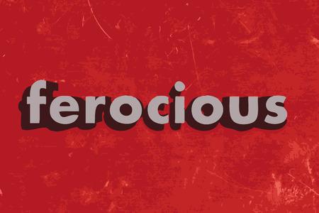 ferocious: ferocious vector word on red concrete wall